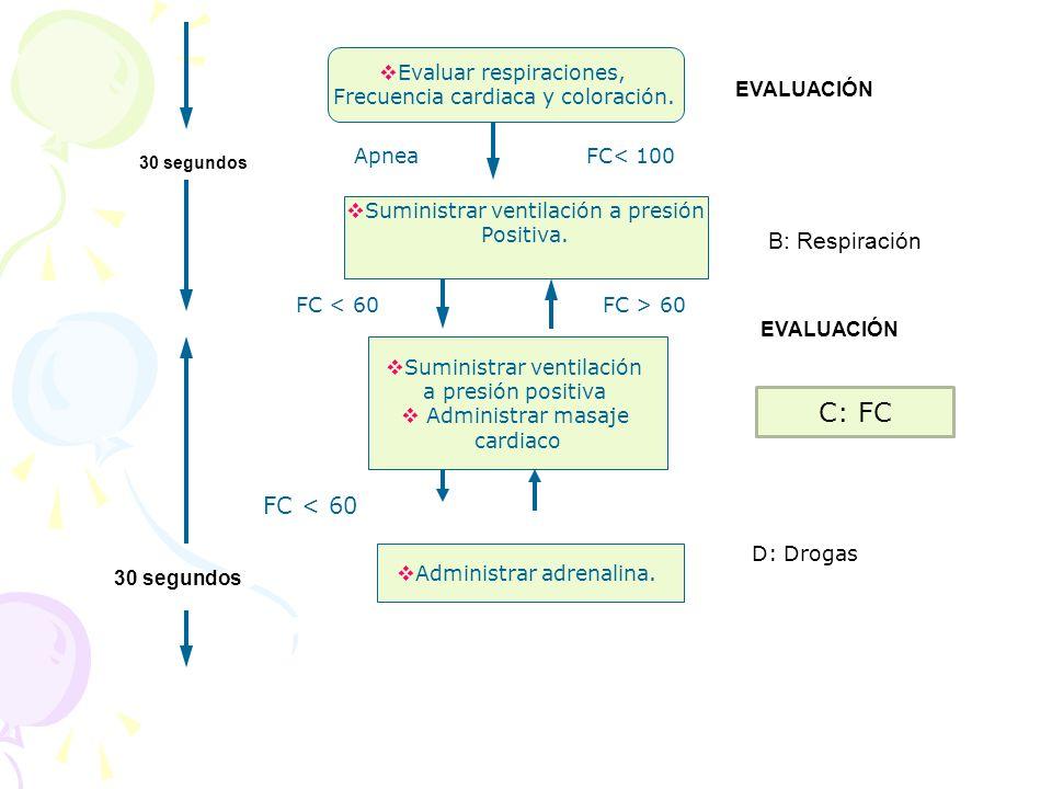 Evaluar respiraciones, Frecuencia cardiaca y coloración. EVALUACIÓN FC< 100Apnea Suministrar ventilación a presión Positiva. B: Respiración Suministra