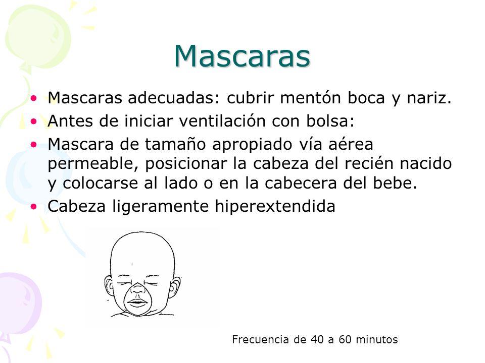 Mascaras Mascaras adecuadas: cubrir mentón boca y nariz. Antes de iniciar ventilación con bolsa: Mascara de tamaño apropiado vía aérea permeable, posi