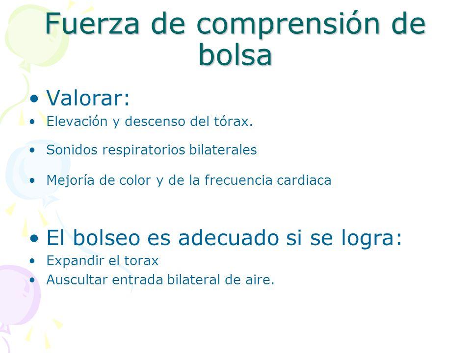 Fuerza de comprensión de bolsa Valorar: Elevación y descenso del tórax. Sonidos respiratorios bilaterales Mejoría de color y de la frecuencia cardiaca