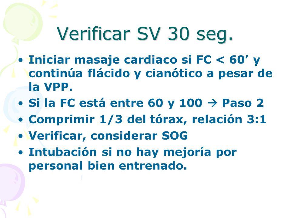 Verificar SV 30 seg. Iniciar masaje cardiaco si FC < 60 y continúa flácido y cianótico a pesar de la VPP. Si la FC está entre 60 y 100 Paso 2 Comprimi