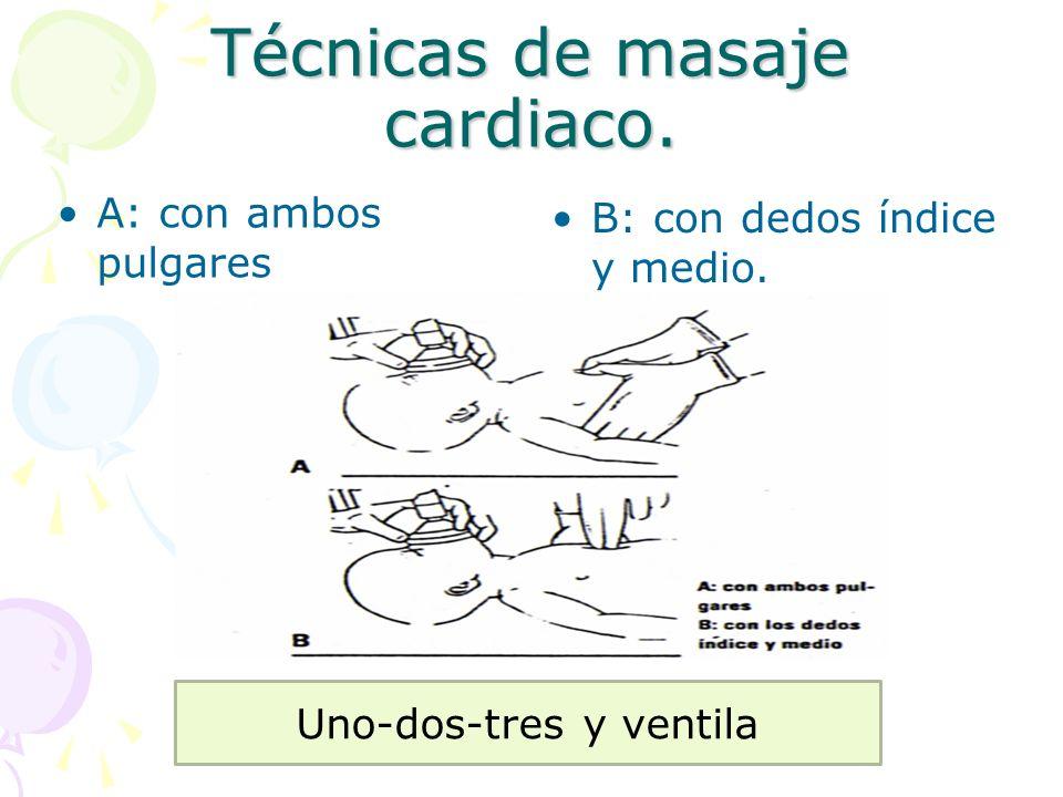 Técnicas de masaje cardiaco. A: con ambos pulgares B: con dedos índice y medio. Uno-dos-tres y ventila