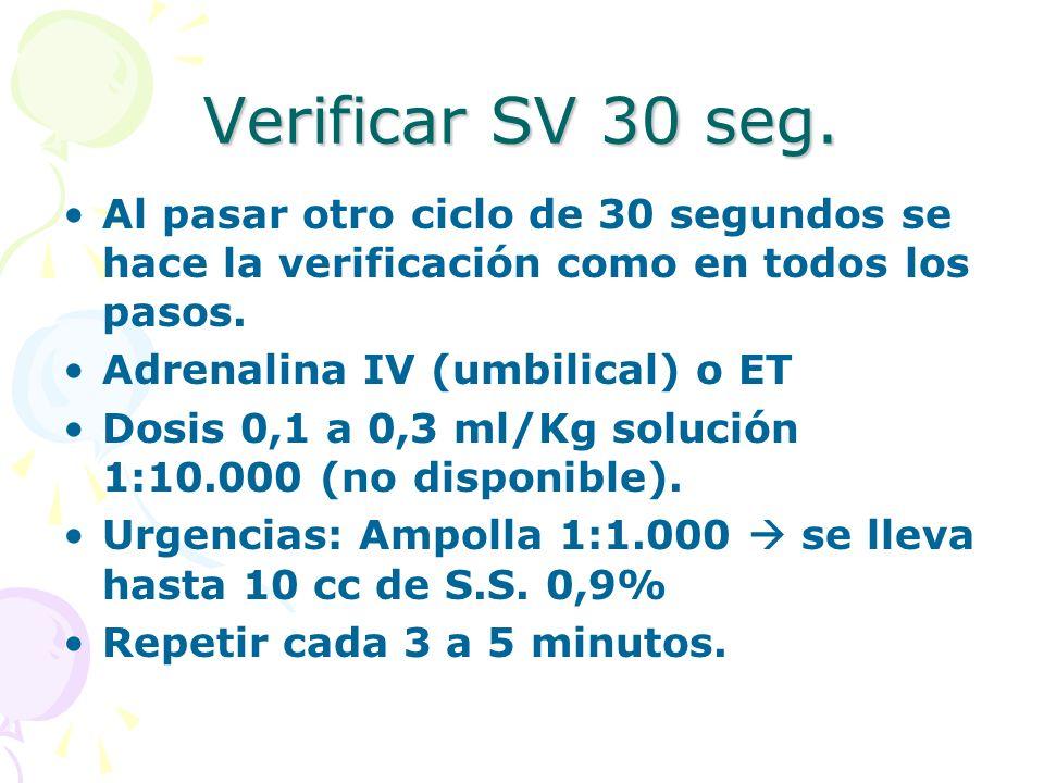Verificar SV 30 seg. Al pasar otro ciclo de 30 segundos se hace la verificación como en todos los pasos. Adrenalina IV (umbilical) o ET Dosis 0,1 a 0,