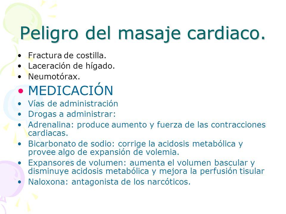 Peligro del masaje cardiaco. Fractura de costilla. Laceración de hígado. Neumotórax. MEDICACIÓN Vías de administración Drogas a administrar: Adrenalin