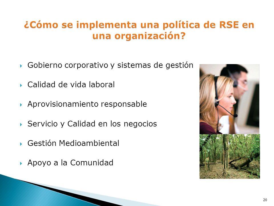 Gobierno corporativo y sistemas de gestión Calidad de vida laboral Aprovisionamiento responsable Servicio y Calidad en los negocios Gestión Medioambie