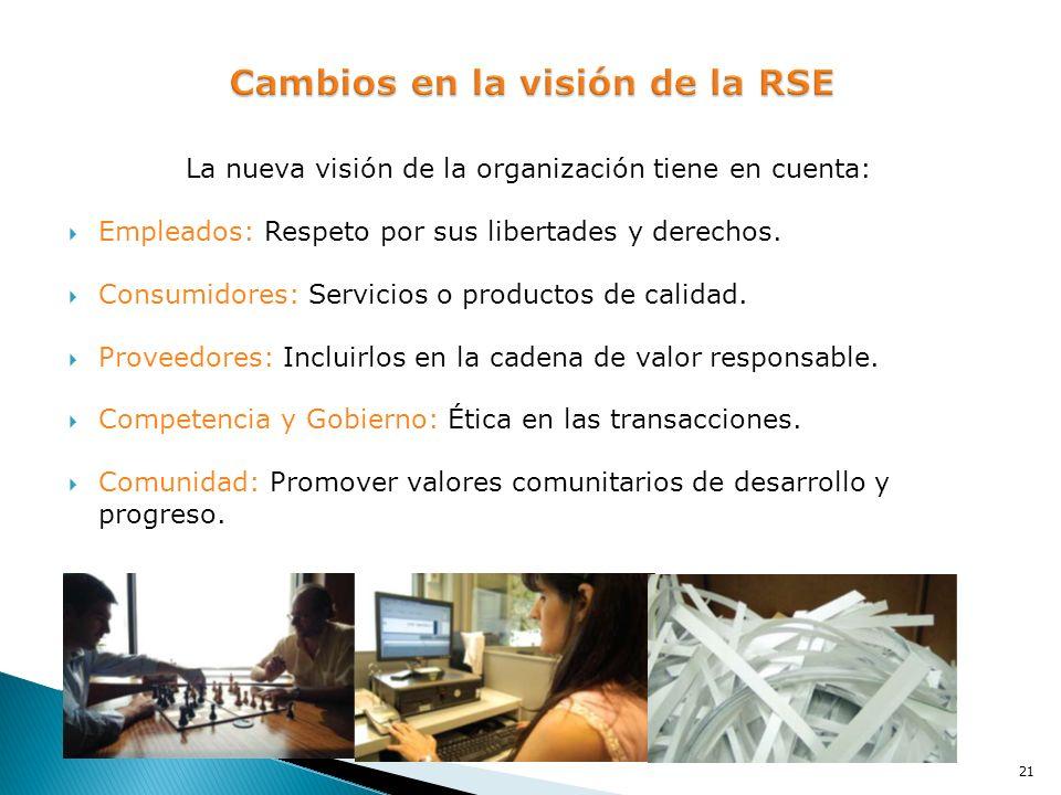 La nueva visión de la organización tiene en cuenta: Empleados: Respeto por sus libertades y derechos. Consumidores: Servicios o productos de calidad.