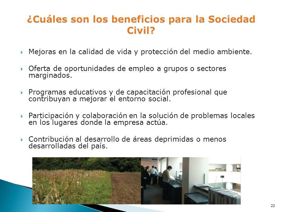Mejoras en la calidad de vida y protección del medio ambiente. Oferta de oportunidades de empleo a grupos o sectores marginados. Programas educativos