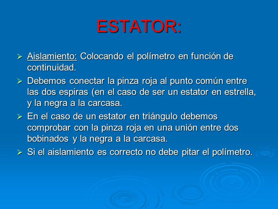 ESTATOR: Aislamiento: Colocando el polímetro en función de continuidad. Aislamiento: Colocando el polímetro en función de continuidad. Debemos conecta