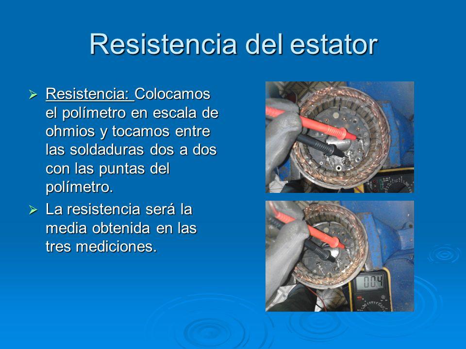 Resistencia del estator Resistencia: Colocamos el polímetro en escala de ohmios y tocamos entre las soldaduras dos a dos con las puntas del polímetro.