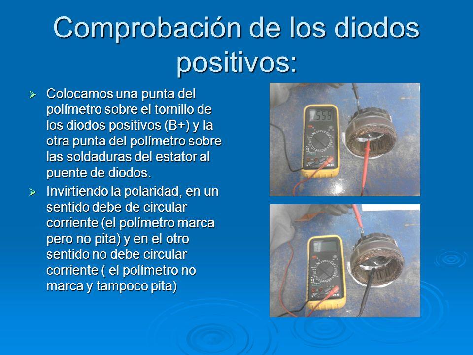 Comprobación de los diodos positivos: Colocamos una punta del polímetro sobre el tornillo de los diodos positivos (B+) y la otra punta del polímetro s