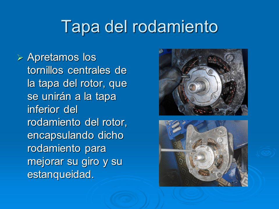 Tapa del rodamiento Apretamos los tornillos centrales de la tapa del rotor, que se unirán a la tapa inferior del rodamiento del rotor, encapsulando di