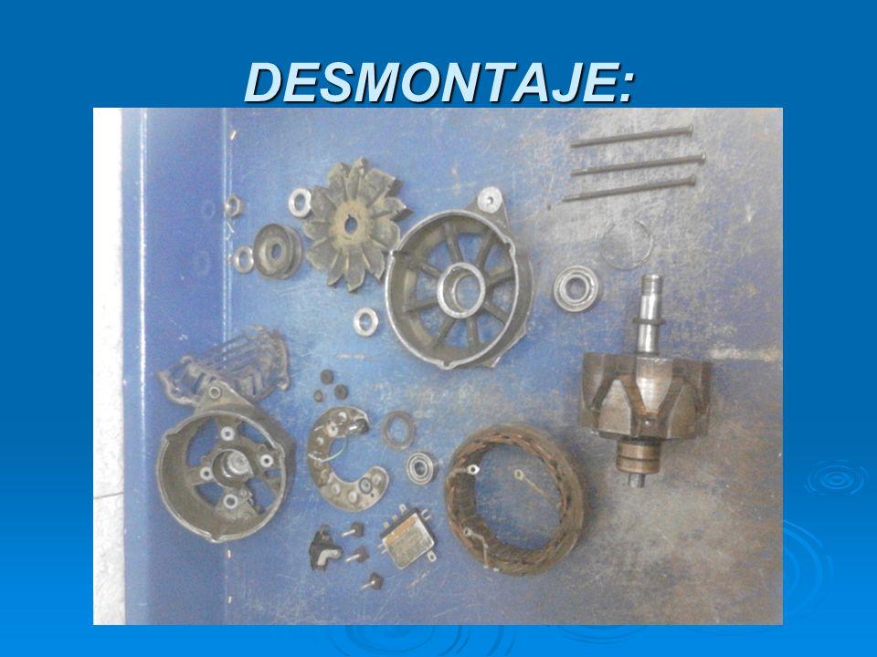 Aislamiento del rotor Aislamiento: con el selector del polímetro en continuidad, colocamos una punta de éste a un anillo rozante, y la otra al eje del rotor, o cualquier zona metálica.