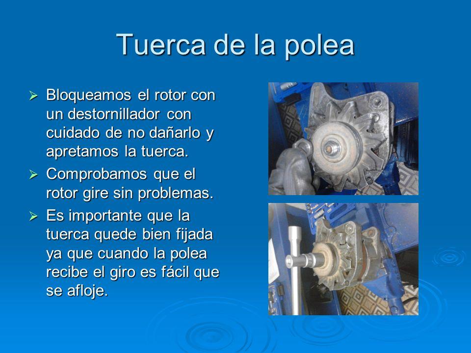 Tuerca de la polea Bloqueamos el rotor con un destornillador con cuidado de no dañarlo y apretamos la tuerca. Bloqueamos el rotor con un destornillado