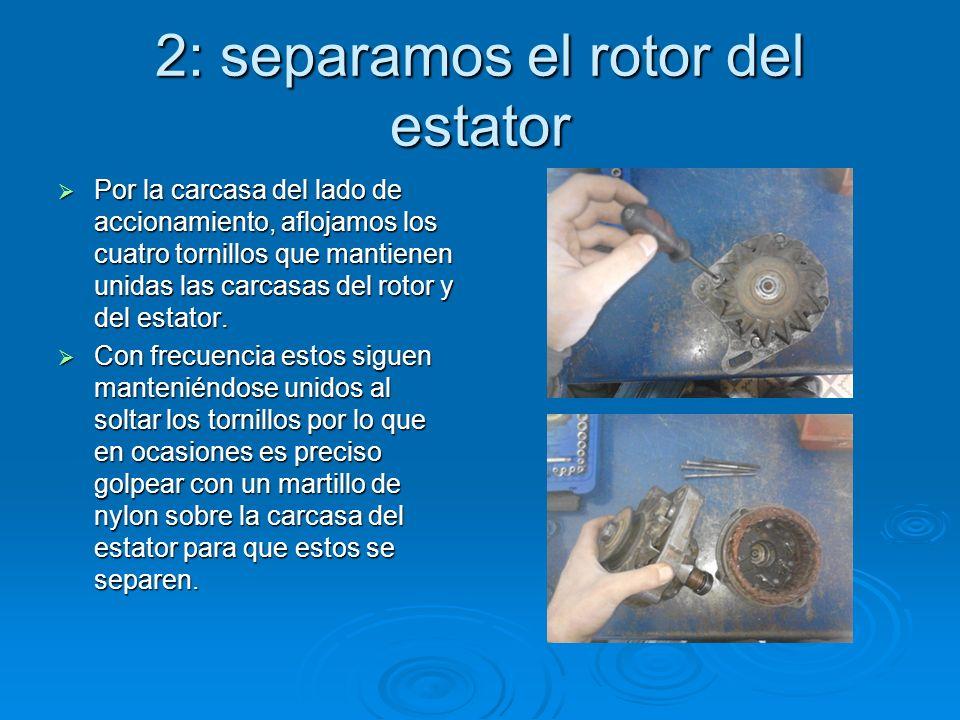 2: separamos el rotor del estator Por la carcasa del lado de accionamiento, aflojamos los cuatro tornillos que mantienen unidas las carcasas del rotor