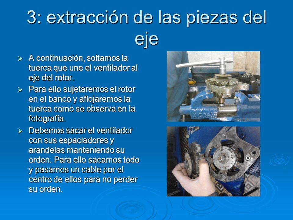 3: extracción de las piezas del eje A continuación, soltamos la tuerca que une el ventilador al eje del rotor. A continuación, soltamos la tuerca que