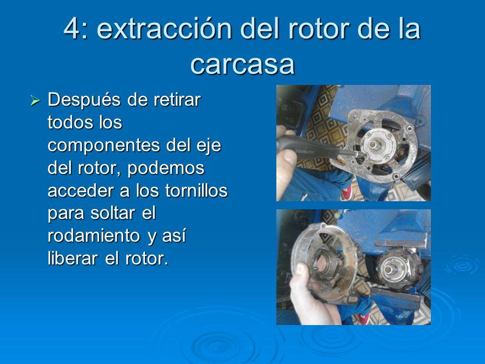 4: extracción del rotor de la carcasa Después de retirar todos los componentes del eje del rotor, podemos acceder a los tornillos para soltar el rodam