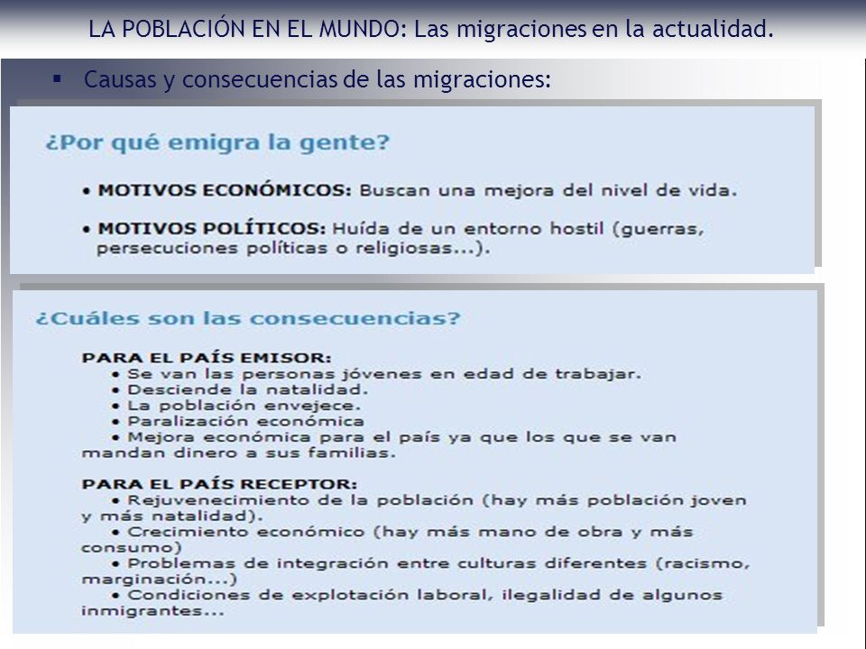 Causas y consecuencias de las migraciones: LA POBLACIÓN EN EL MUNDO: Las migraciones en la actualidad.
