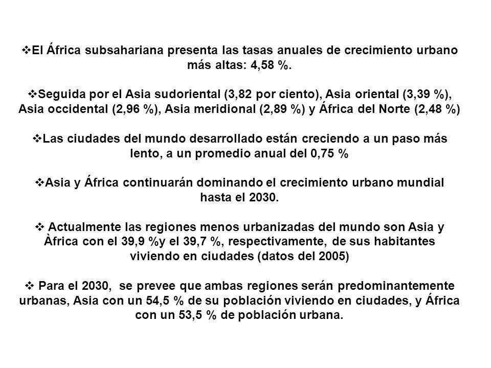 El África subsahariana presenta las tasas anuales de crecimiento urbano más altas: 4,58 %. Seguida por el Asia sudoriental (3,82 por ciento), Asia ori