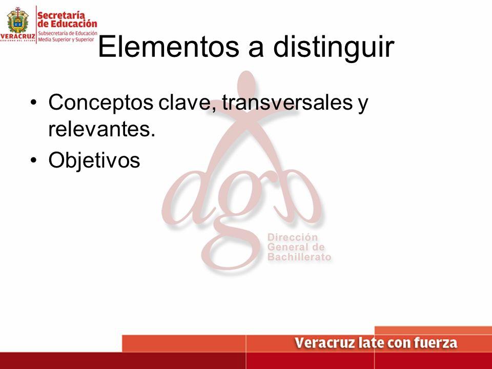 Elementos a distinguir Conceptos clave, transversales y relevantes. Objetivos