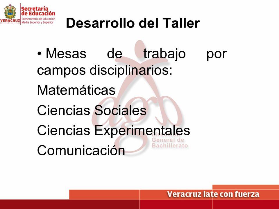 Desarrollo del Taller Mesas de trabajo por campos disciplinarios: Matemáticas Ciencias Sociales Ciencias Experimentales Comunicación