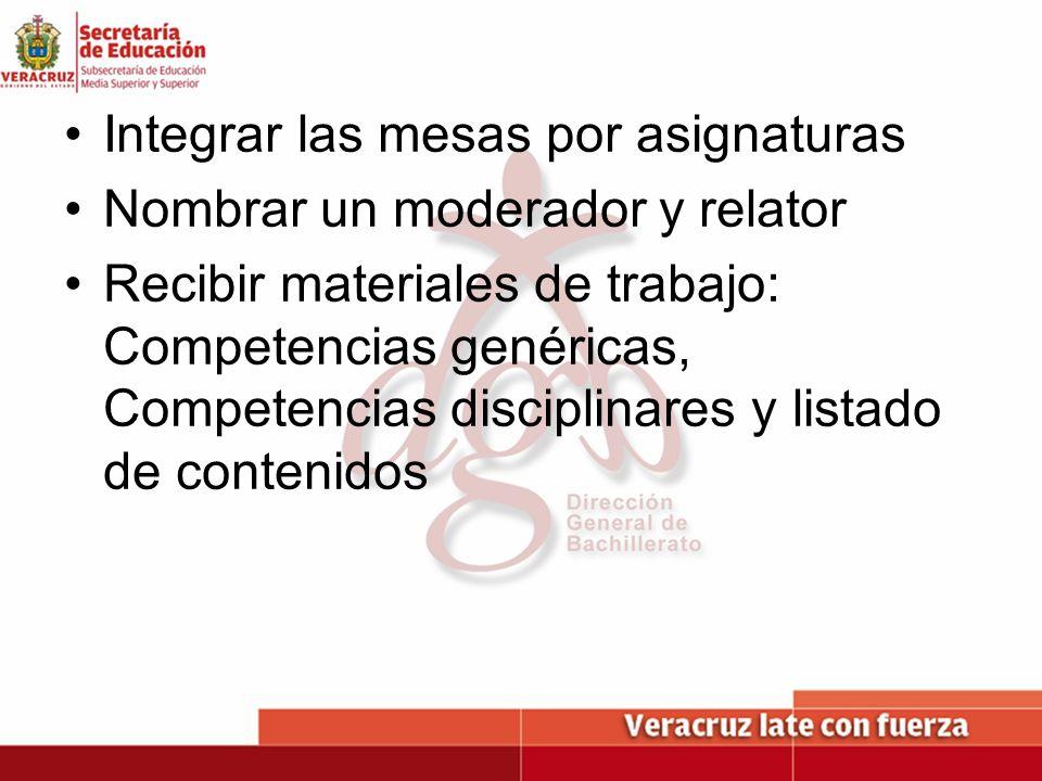 Integrar las mesas por asignaturas Nombrar un moderador y relator Recibir materiales de trabajo: Competencias genéricas, Competencias disciplinares y