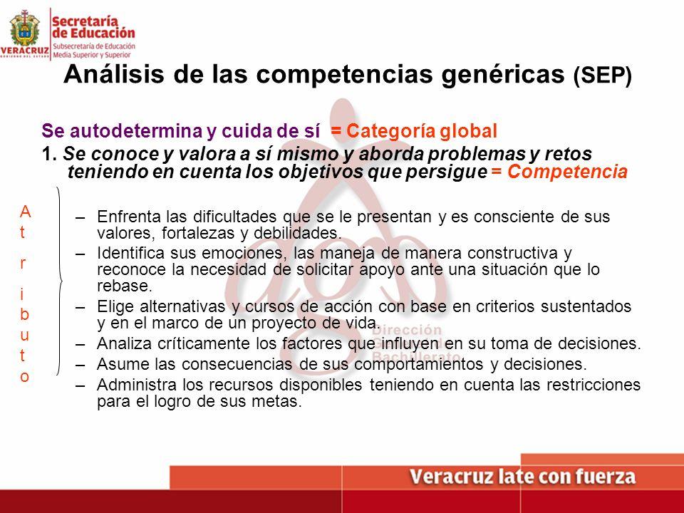 Análisis de las competencias genéricas (SEP) Se autodetermina y cuida de sí = Categoría global 1. Se conoce y valora a sí mismo y aborda problemas y r