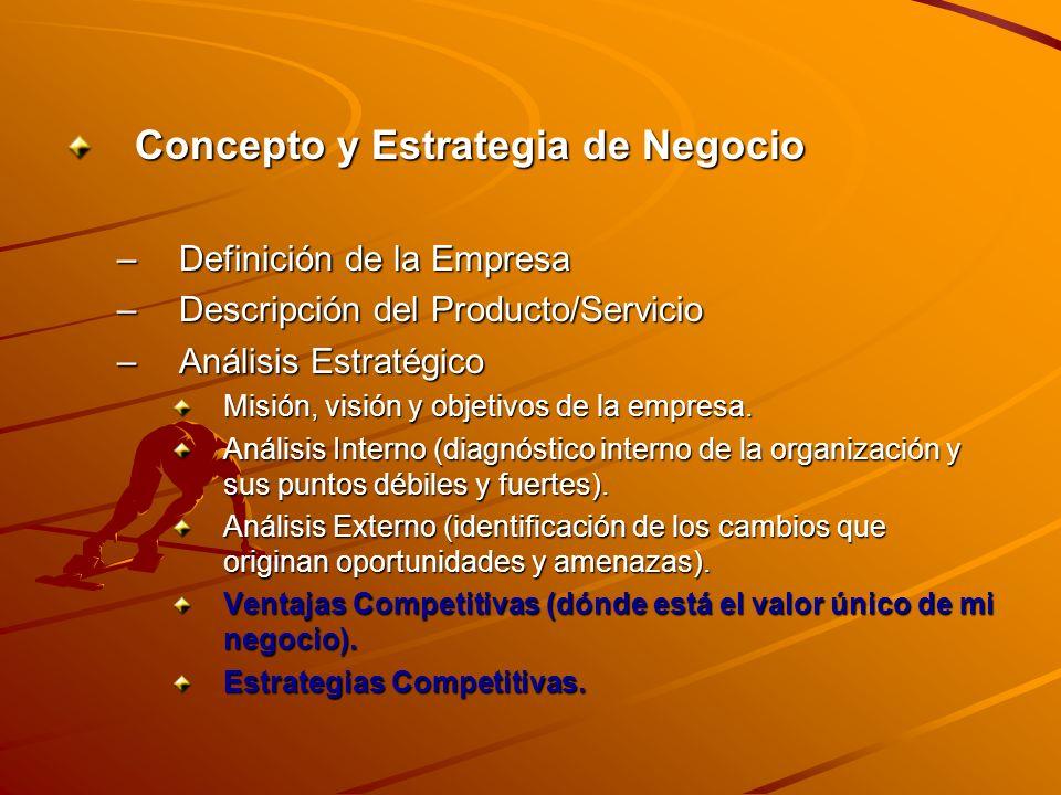 Concepto y Estrategia de Negocio –Definición de la Empresa –Descripción del Producto/Servicio –Análisis Estratégico Misión, visión y objetivos de la e