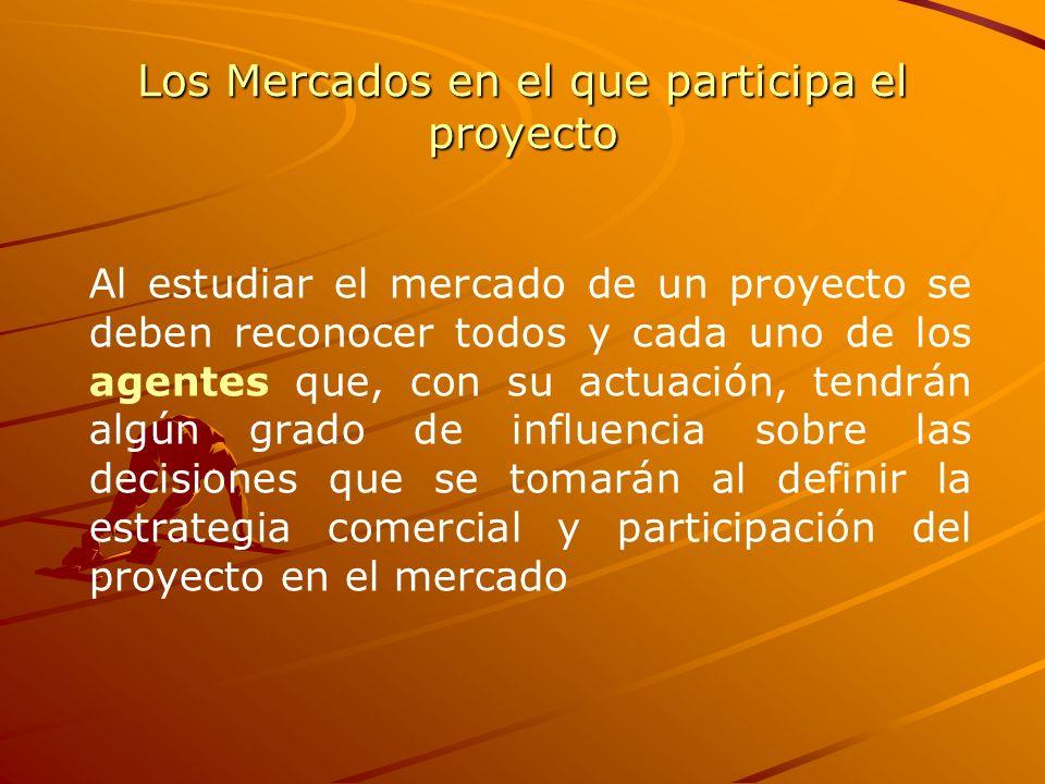 Los Mercados en el que participa el proyecto Al estudiar el mercado de un proyecto se deben reconocer todos y cada uno de los agentes que, con su actu