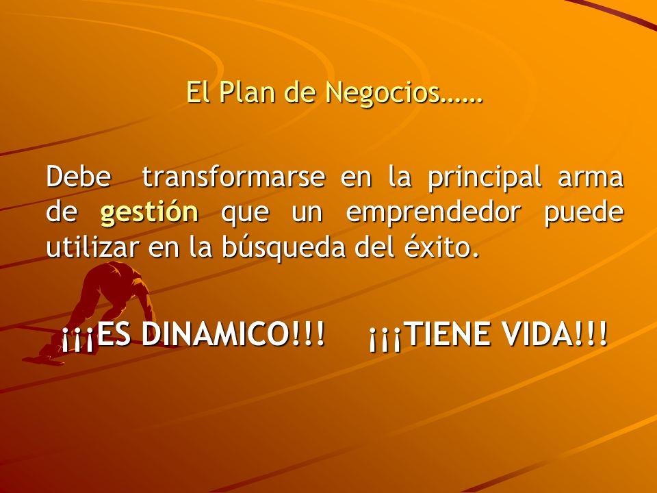 El Plan de Negocios…… Debe transformarse en la principal arma de gestión que un emprendedor puede utilizar en la búsqueda del éxito. ¡¡¡ES DINAMICO!!!