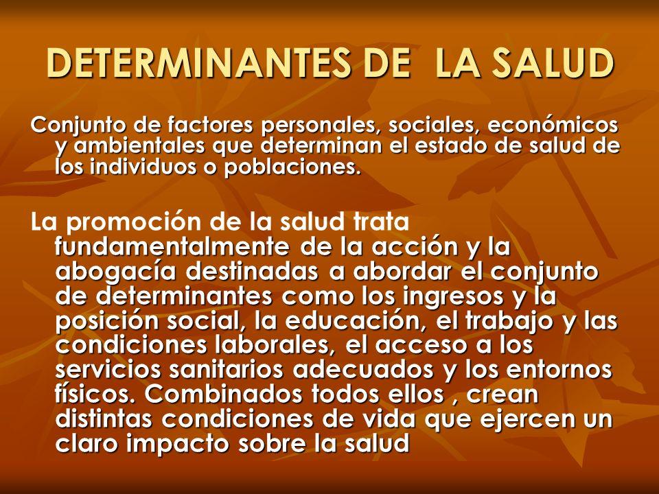 DETERMINANTES DE LA SALUD Conjunto de factores personales, sociales, económicos y ambientales que determinan el estado de salud de los individuos o po