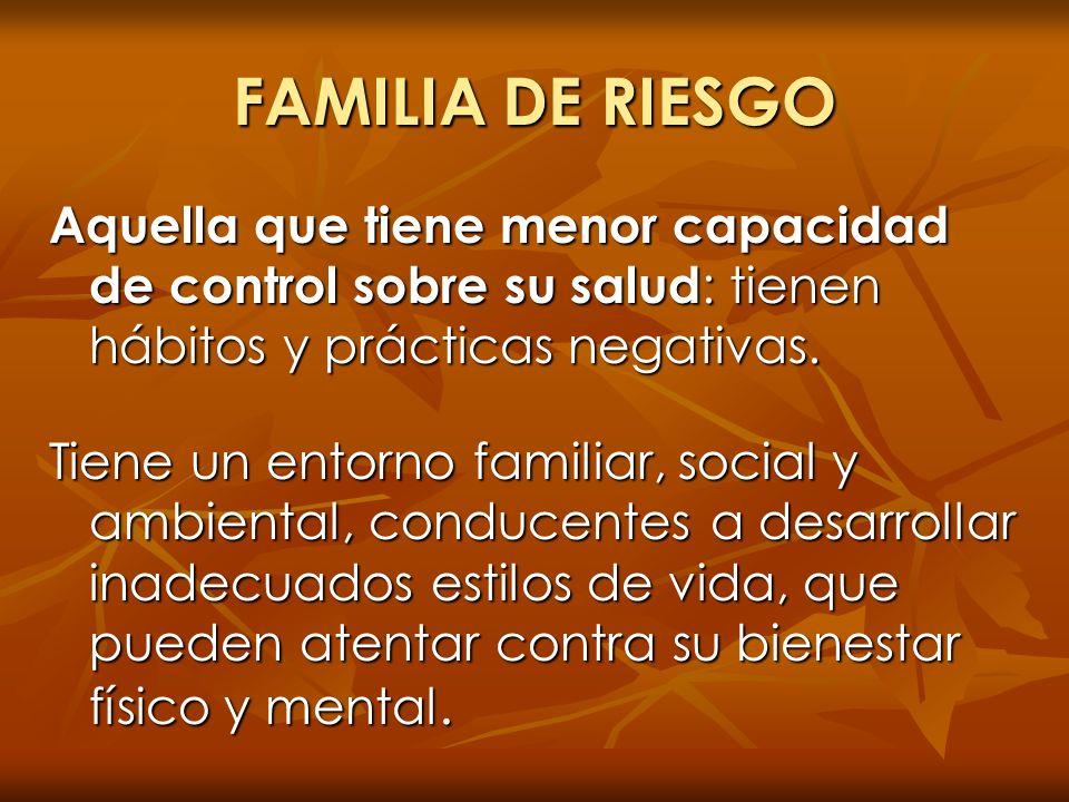 FAMILIA DE RIESGO Aquella que tiene menor capacidad de control sobre su salud : tienen hábitos y prácticas negativas. Tiene un entorno familiar, socia