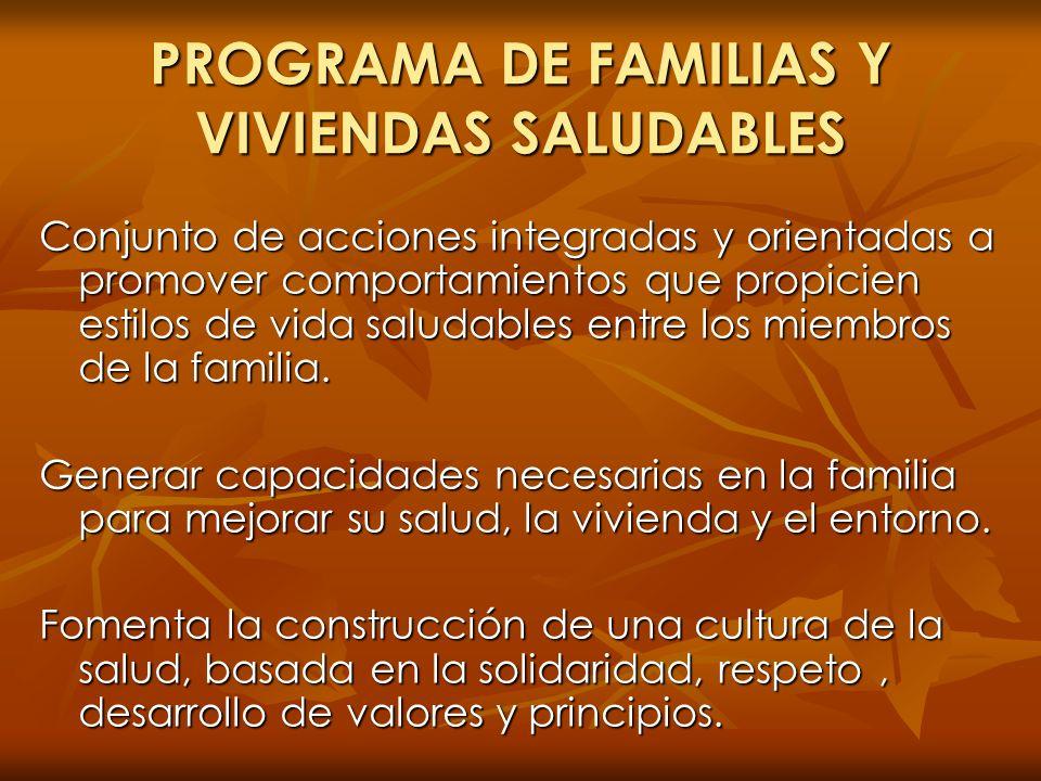 PROGRAMA DE FAMILIAS Y VIVIENDAS SALUDABLES Conjunto de acciones integradas y orientadas a promover comportamientos que propicien estilos de vida salu