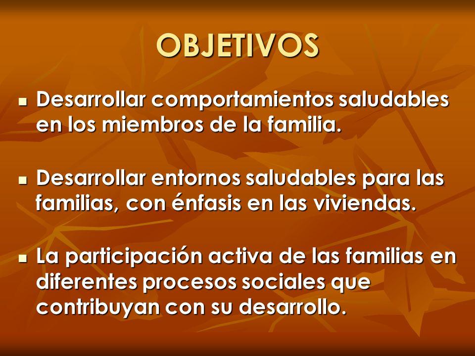 OBJETIVOS Desarrollar comportamientos saludables en los miembros de la familia. Desarrollar comportamientos saludables en los miembros de la familia.