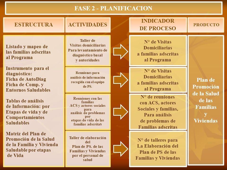 Listado y mapeo de las familias adscritas al Programa Instrumento para el diagnóstico: Ficha de AutoDiag Ficha de Comp. y Entornos Saludables Tablas d