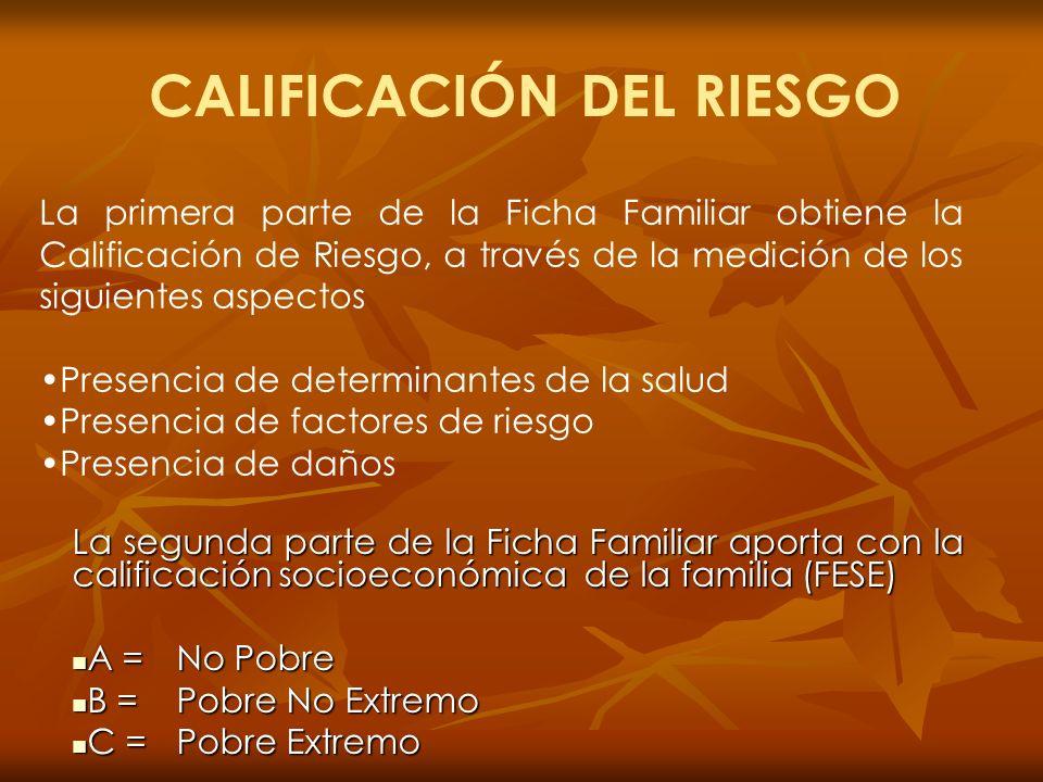 La segunda parte de la Ficha Familiar aporta con la calificación socioeconómica de la familia (FESE) A =No Pobre B =Pobre No Extremo C =Pobre Extremo
