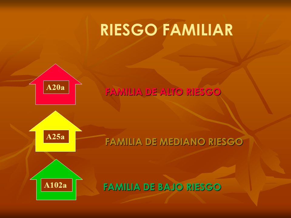 RIESGO FAMILIAR A20a A25aA102a FAMILIA DE ALTO RIESGO FAMILIA DE MEDIANO RIESGO FAMILIA DE BAJO RIESGO
