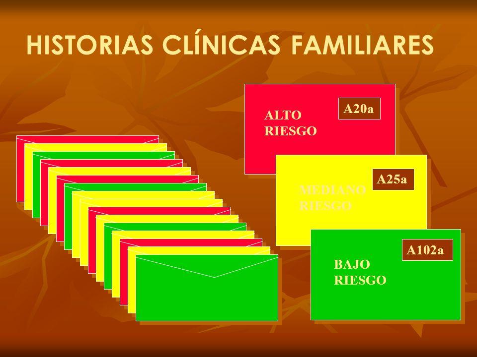 HISTORIAS CLÍNICAS FAMILIARES A20a A25a A102a ALTO RIESGO MEDIANO RIESGO BAJO RIESGO