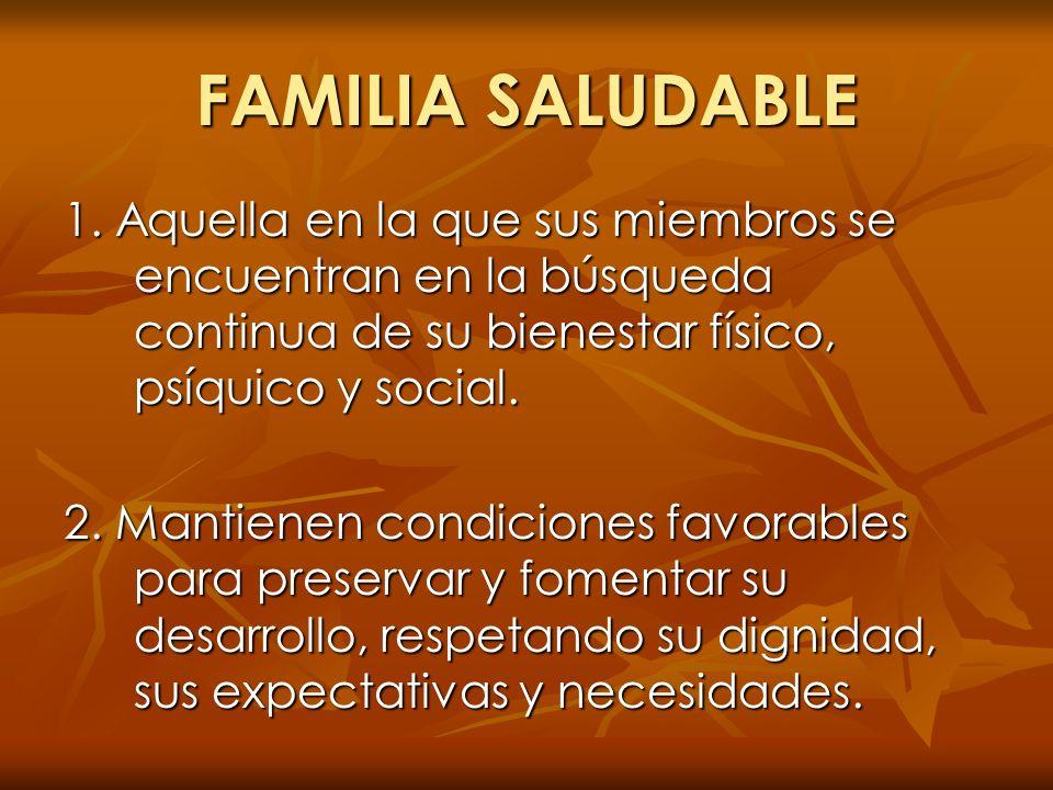 FAMILIA SALUDABLE 1. Aquella en la que sus miembros se encuentran en la búsqueda continua de su bienestar físico, psíquico y social. 2. Mantienen cond