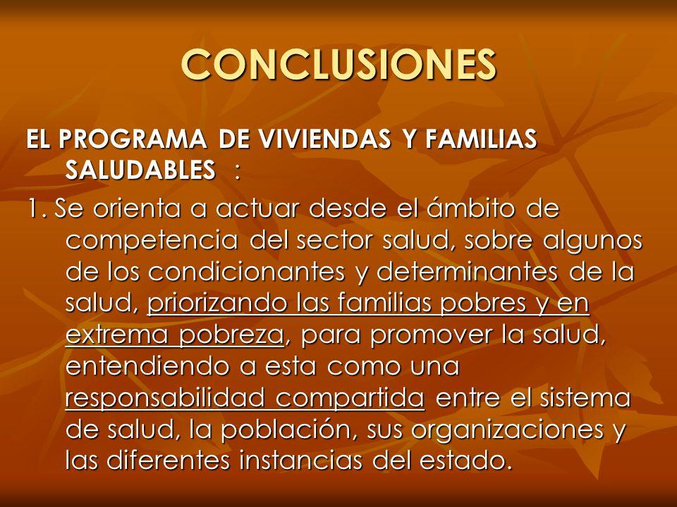 CONCLUSIONES EL PROGRAMA DE VIVIENDAS Y FAMILIAS SALUDABLES : 1. Se orienta a actuar desde el ámbito de competencia del sector salud, sobre algunos de
