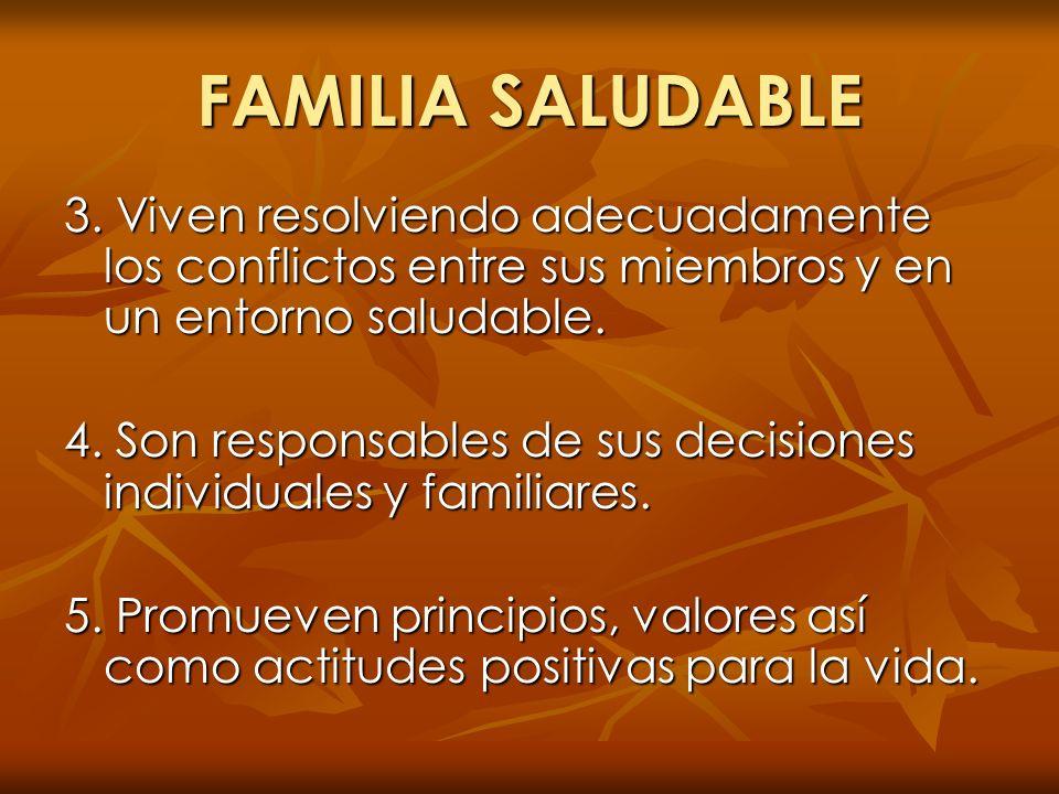 FAMILIA SALUDABLE 3. Viven resolviendo adecuadamente los conflictos entre sus miembros y en un entorno saludable. 4. Son responsables de sus decisione