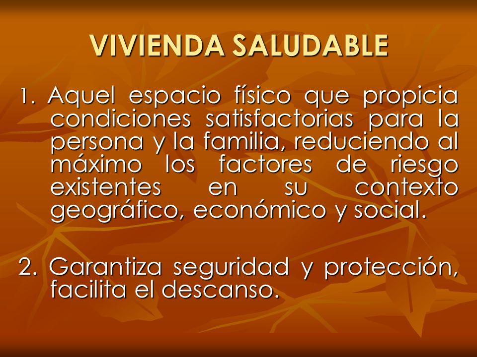 VIVIENDA SALUDABLE 1. Aquel espacio físico que propicia condiciones satisfactorias para la persona y la familia, reduciendo al máximo los factores de