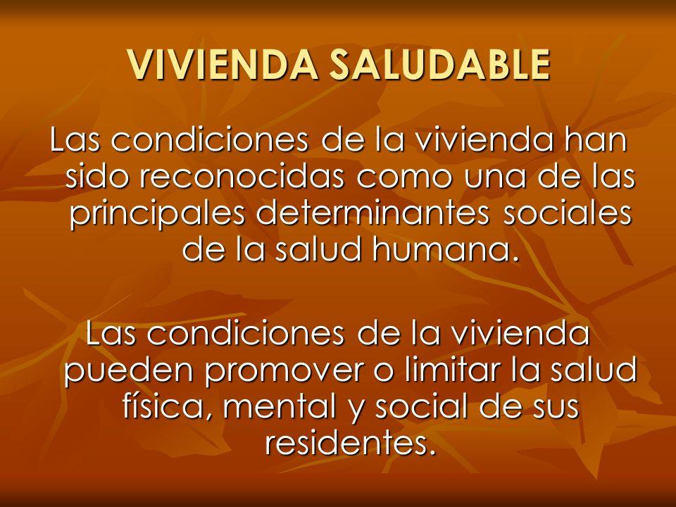 VIVIENDA SALUDABLE Las condiciones de la vivienda han sido reconocidas como una de las principales determinantes sociales de la salud humana. Las cond