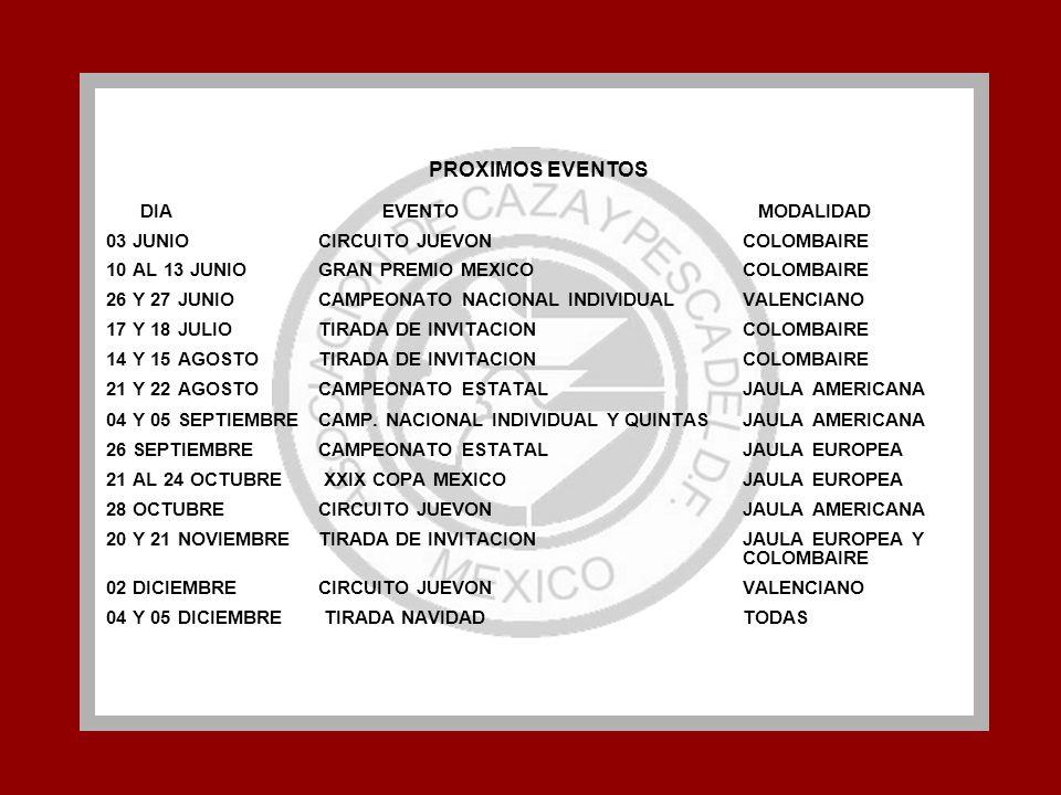 PROXIMOS EVENTOS DIA EVENTO MODALIDAD 03 JUNIOCIRCUITO JUEVON COLOMBAIRE 10 AL 13 JUNIOGRAN PREMIO MEXICO COLOMBAIRE 26 Y 27 JUNIOCAMPEONATO NACIONAL