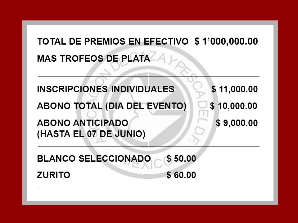 TOTAL DE PREMIOS EN EFECTIVO $ 1000,000.00 MAS TROFEOS DE PLATA ____________________________________________________________ INSCRIPCIONES INDIVIDUALE
