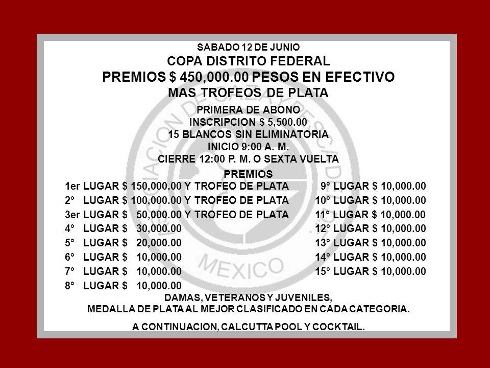SABADO 12 DE JUNIO COPA DISTRITO FEDERAL PREMIOS $ 450,000.00 PESOS EN EFECTIVO MAS TROFEOS DE PLATA PRIMERA DE ABONO INSCRIPCION $ 5,500.00 15 BLANCO