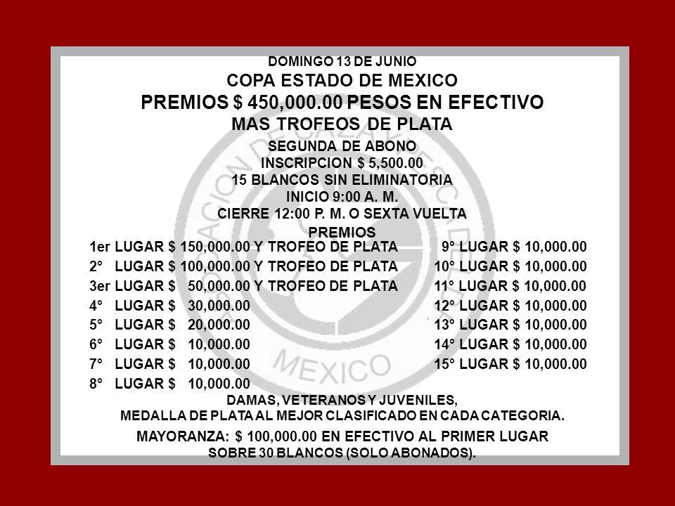 DOMINGO 13 DE JUNIO COPA ESTADO DE MEXICO PREMIOS $ 450,000.00 PESOS EN EFECTIVO MAS TROFEOS DE PLATA SEGUNDA DE ABONO INSCRIPCION $ 5,500.00 15 BLANC
