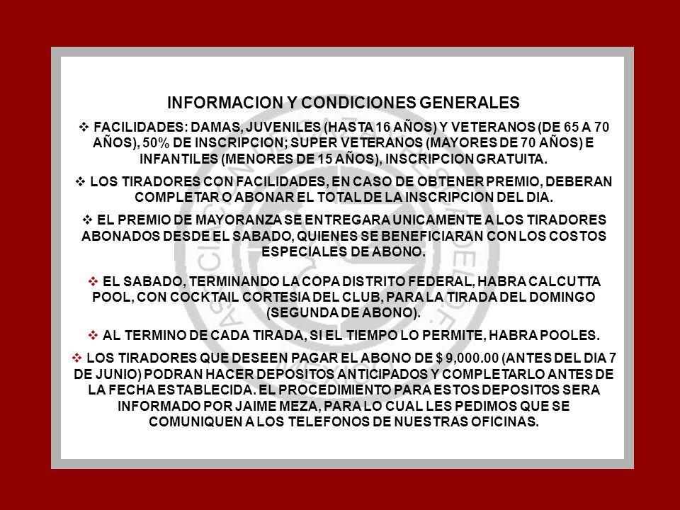 INFORMACION Y CONDICIONES GENERALES FACILIDADES: DAMAS, JUVENILES (HASTA 16 AÑOS) Y VETERANOS (DE 65 A 70 AÑOS), 50% DE INSCRIPCION; SUPER VETERANOS (