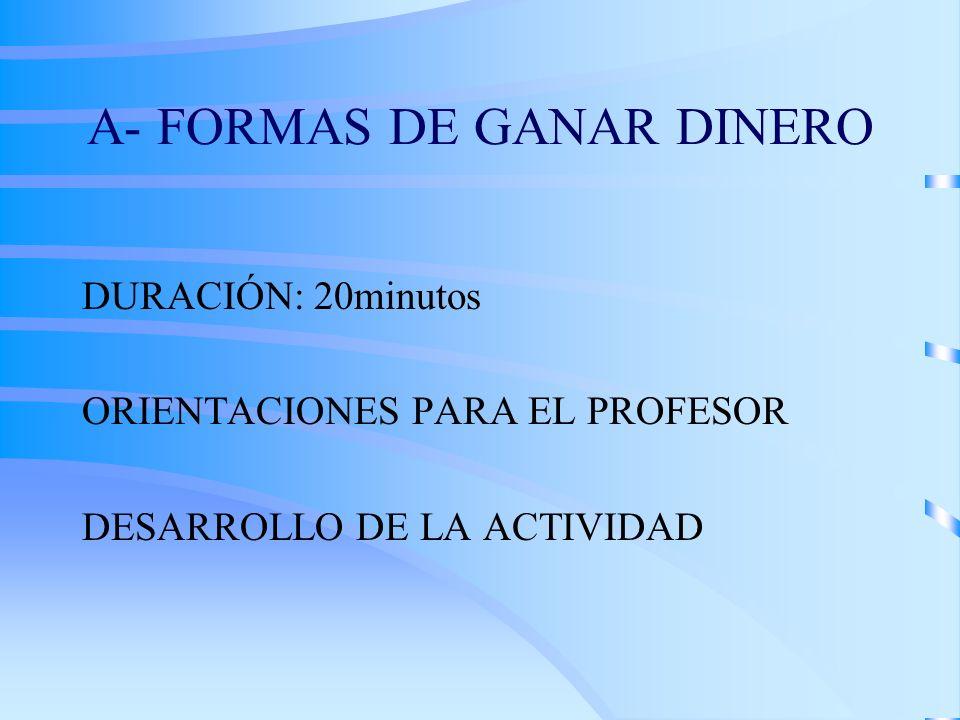 A- FORMAS DE GANAR DINERO DURACIÓN: 20minutos ORIENTACIONES PARA EL PROFESOR DESARROLLO DE LA ACTIVIDAD