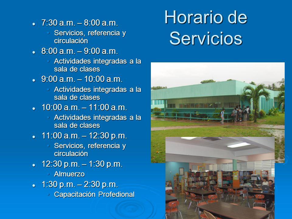 Usuarios La biblioteca ofrece servicio a toda la matrícula de la escuela que consta de 531 estudiantes entre los grados de Kinder a Noveno.