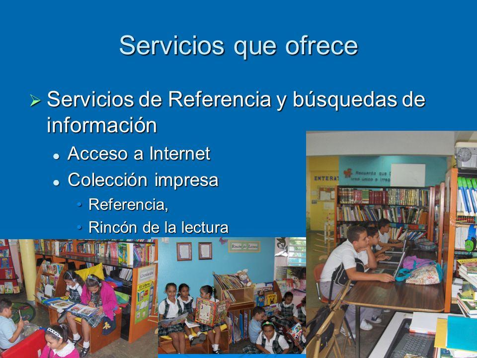 Servicios que ofrece Proyectos especiales Proyectos especiales Lectura Lectura