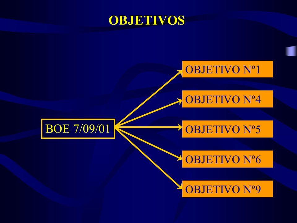 OBJETIVOS OBJETIVO Nº1 OBJETIVO Nº4 OBJETIVO Nº5 OBJETIVO Nº6 OBJETIVO Nº9 BOE 7/09/01